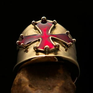 Perfectly crafted round Mens Cathar Templar Cross Ring Red