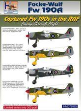 H-modèle DECALS 1/72 capturé Focke-Wulf Fw 190A-3/Fw 190A-4/Fw 190A-5 RAF Ser