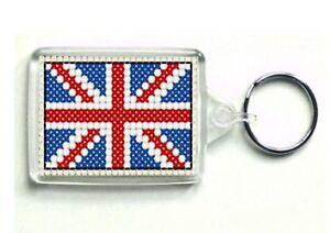 Counted cross stitch Keyring kit, 'Union Jack Flag', Acrylic keyring