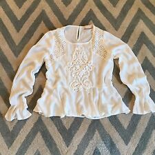 New ANTHROPOLOGIE Women's White Lace Crochet Detail Boho Hippie Top Blouse Small