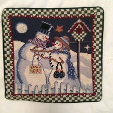 Needlepoint Christmas Pillow Cover Snowman Couple Velveteen Back Zipper 13 X 13