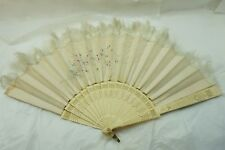 ANTIQUE HAND FAN SILK CARVED STICKS HAND PAINTED FLOWERS OSTRICH 1900s AS IS