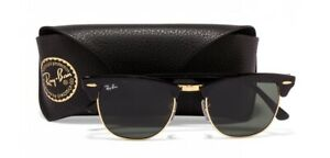 AUTHENTIC Ray-Ban RB3016 W0365 51 CLUBMASTER GOLDEN FRAME GREEN LENS SUNGLASSES