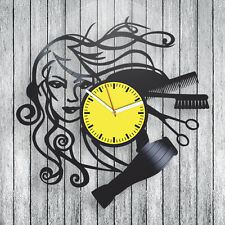 vintage vinyl clock hairdresser hobby Gift ideas for girls barbershop art decor