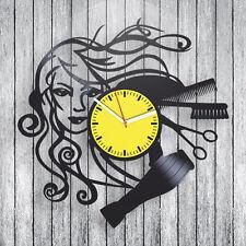 vintage vinyl clock hairdresser hobby Gift ideas for girls barbershop art decor