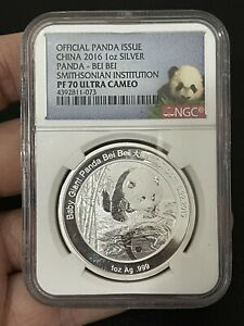 2016 Silver Panda Bei Bei Smithsonian Institution NGC PROOF 70 Ultra Cameo
