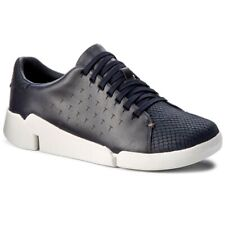 Clarks Tri Abby Navy Leather Women's Trainers Size UK 5D