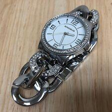 Rousseau Lady Silver Rhinestone Thick Chain Analog Quartz Watch Hour~New Battery