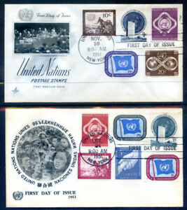 United Nations 1951 Defs to $1, Airs, 1955 sheet + others on fdc (2020/12/22#07)