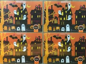 NEW Set of 4 Ghosts Haunted Houses 3D Vinyl Placemats Halloween Retail $6.99 ea