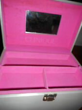 Retro Clinique Makeup case Pink and Grey folds out Large Retro Beauty CASE