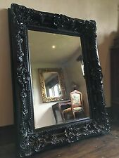 BLACK OVERMANTLE ORNATE LARGE FRENCH LEANER DRESSING DRESS WOOD WALL TALL MIRROR