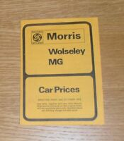 Morris Wolseley MG Price List 1973 Mini Clubman 1275 GT 1800 2200 Six MGB GT V8