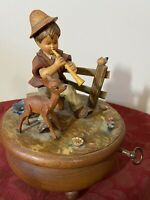 Vintage MUSIC BOX Thorens Switzerland Wood Carved Hand Painted Waltz of Flowers