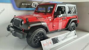 NEW MAISTO 1:18 Diecast Model Car 2014 Wrangler Willy's Jeep in Red