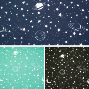 Galaxy Space Fabric - Stars Moon Planets - Children Kids Polycotton Material