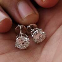 8mm Solitaire Big Moissanite 4-Prong Stud Earrings 14k White Gold GP For Women's