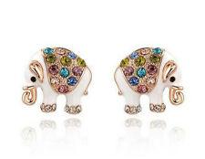 1 Pair Woman Fashion Gold White Elephant crystal Charm Stud Earring NEW