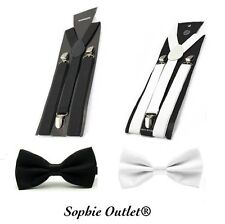 Mens Satin Bow Stretch Braces Party Wedding Groom SUSPENDER & BOW TIE COMBO SET
