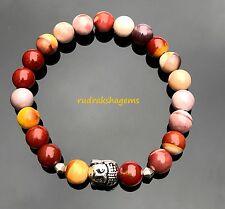 Buddha Moo-kite Mookaite Natural Gemstone Elasticated Bracelet Yoga Meditation