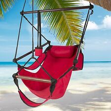 Indoor/Outdoor Hanging Hammock Chair Air/Sky Swing Chair Solid Wood 250 lbs Red
