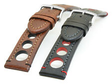 HIRSCH RALLY WATCH STRAP RACING VINTAGE LOOK CALF LEATHER 18, 20, 22, 24 mm US