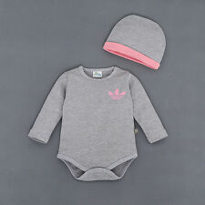 NEWBORN BABY LEAVES HAT CAP + ROMPER BOYS GIRL BODYSUIT CLOTHING OUTFITS SET NEW