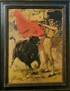 "Matador Bullfighter Lithograph on board Rico Tomaso framed 24"" x 18"" Preowned"