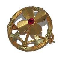 Broche ancienne Art Nouveau en plaqué or 18 carats trèfle à 4 feuilles bijou