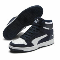PUMA Mens Rebound Shoes Layup SD M Mid Basketball Navy Blue White Trainers UK 8