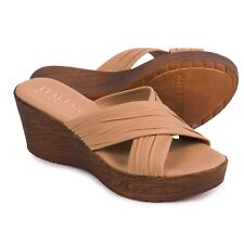 New Italian Shoemakers Platform Women Leather Natural Color Sandals Size US 11