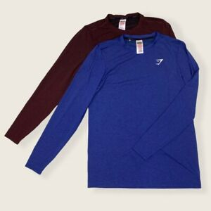 Gym Shark 2-Pack Red/Blue Logo Long Sleeve Shirts Breathable Athletic Crew Neck