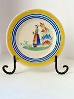 Antique Henriot Quimper Hand Painted Breton Woman Plate