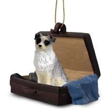 Australian Shepherd Blue Traveling Companion Dog Figurine In Suit Case Ornament