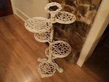 "Antique Shabby Cast Iron 3 Tier/6 Plant Stand 30"" vtg victorian star garden Rare"