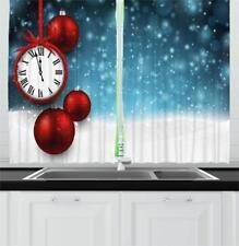 "Clock Kitchen Curtains 2 Panel Set Window Drapes 55"" X 39"" Ambesonne"