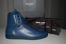 SAINT LAURENT YSL Classic Royal Blue Leather Hi-Top Sneakers Shoes 10 US/ 43 EU