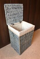 New Grey Stylish Shabby Chic Rattan Wicker Laundry Baskets Storage Bedroom