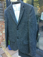 Men's Topman Harris Tweed 2 Button Grey Wool Blazer With Elbow Patches 36 Small