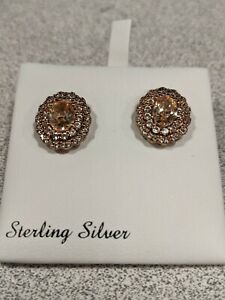 Sterling Silver Yellow Citrine w/ Dia. Accents Halo Studded Earrings