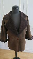 Crombie sheepskin shearling real lamb fur jacket 3/4 sleeve waistcoat UK12EU38US
