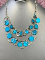 Vintage turquoise Blue Mother Of Pearl Cha Cha Charm  Beaded Strand Necklace 16""