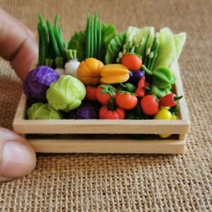 41 pcs. Loose Miniature Dollhouse Different Vegetable With Wooden Box Food Decor