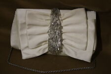 JESSICA MCCLINTOCK Ivory Evening Bag/Cocktail Purse W/Silver SPARKLE Beads B33