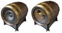 Cassa acustica passiva 100W in legno con inserti in metallo - Forma botte