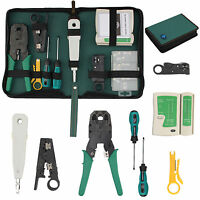 RJ45 Ethernet Network Cable Tester Crimping Crimper Stripper Cutter Tool KitSet