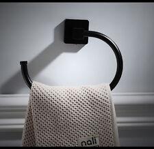 Black Bathroom Square Curved Towel Ring Holder Bars Rack Stainless steel