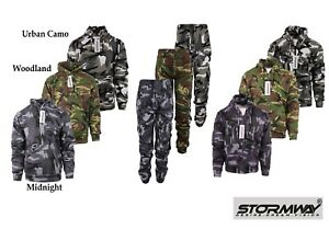 Mens Stormway Army Camouflage Fleece Camo Tracksuit Hoodie / Zipper / Joggers