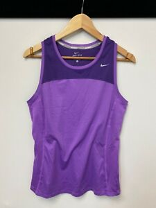 Nike Dri-Fit Ladies Purple Sleeveless Sports Gym Vest Top T-Shirt UK M   A70
