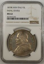 1870-R XXIV Italy 5 Lire Silver Coin Papal States NGC MS-62